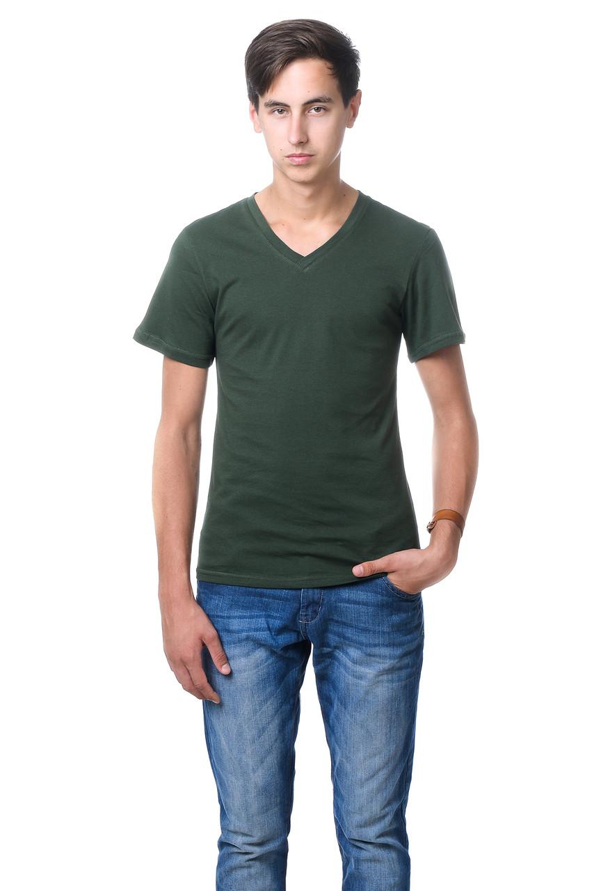 Качественная мужская футболка оригинального кроя с V-образным вырезом горловины цвета хаки
