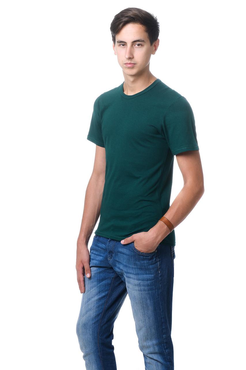 Качественная мужская футболка оригинального кроя с V-образным вырезом горловины темно-зеленый