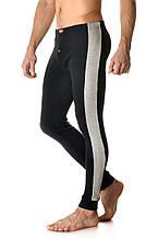 Удобные мужские облегающие кальсоны из качественного материала цвета черный/меланж