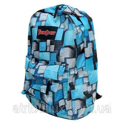 Рюкзак с карманом 42х30х13см Объемные квадраты