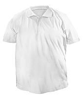 Стильная мужская футболка больших размеров из плотного трикотажа с воротником поло белая