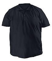 Стильная мужская футболка больших размеров из плотного трикотажа с воротником поло темно-синяя