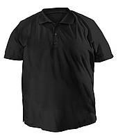 Стильная мужская футболка больших размеров из плотного трикотажа с воротником поло черная