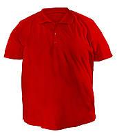 Стильная мужская футболка больших размеров из плотного трикотажа с воротником поло красная