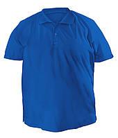 Стильная мужская футболка больших размеров из плотного трикотажа с воротником поло электрик