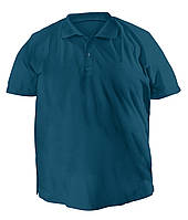 Стильная мужская футболка больших размеров из плотного трикотажа с воротником поло цвета джинс