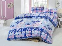 Двуспальное евро постельное белье Brielle 701 V1 Blue Ранфорс