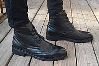 Мужские зимние классические ботинки Classic оригинал черные кожа мех