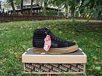 Зимние подростковые ботинки Vans Old Skool высокие черные с коричневым замша мех