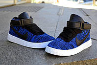 Мужские кроссовки NIKE Air Force 1 Mid Flyknit высокие синие