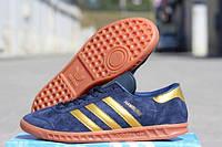 Мужские кроссовки Adidas Hamburg темно-синие замша