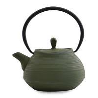 Чайник заварочный чугунный, темно-зеленый, 1,1 л