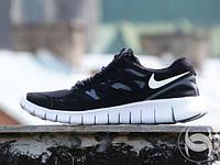 Мужские повседневные кроссовки NIKE Free Run 2.0 черные с белым
