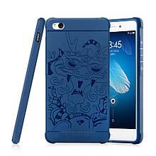 Чехол накладка силиконовый TPU Auspicious Dragon для Xiaomi Redmi 3 синий