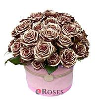 """Цветы в коробке """"Корона"""" 51 золотая роза"""
