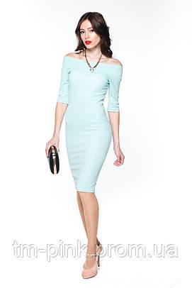 """Сукня лодочка жакард """"Tiffany"""" м'ята платье лодочка жаккард"""