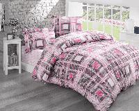Двуспальное евро постельное белье Brielle 802 V1 Pink Ранфорс