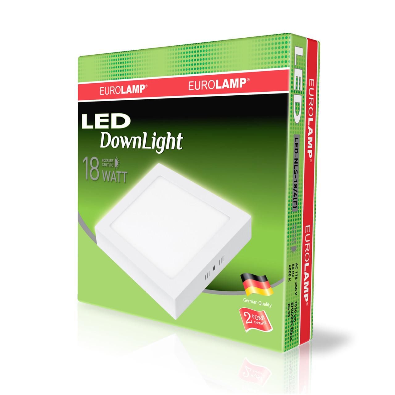 LED-светильник Eurolamp Downlight NEW 18W 1530Lm Ra93 4000K квадратный