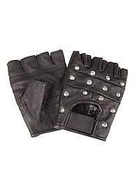 Перчатки байкерские обрезанные с клёпками (Black)