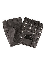 Перчатки байкерские обрезанные с заклепками (Black)