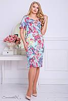 Летнее платье из жаккарда, с принтом, голубое, размер 50, 52, 54, 56
