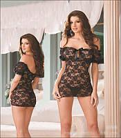 Кружевная черная сорочка пеньюар Жасмин
