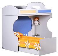 Кровать 2-х ярусная со стеллажем