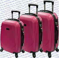 Комплект 3-ка пластиковых чемоданов на четырёх колёсах