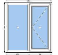 Поворотное МП окно 1260*1385, Venta / Axor