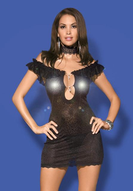 Эротическое нижнее белье,ажурная сорочка со стразами,Diamond chemise black