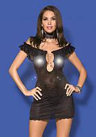 Эротическое нижнее белье,ажурная сорочка со стразами,Diamond chemise black, фото 1