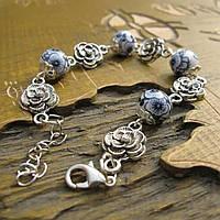 Браслет женский из керамики покрытие серебро  6213