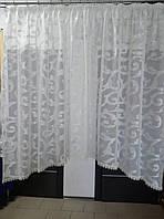 Тюль лен с кружевом и формой арочки