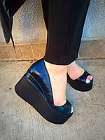 Туфли кожаные черные на танкетке Glam. Украина