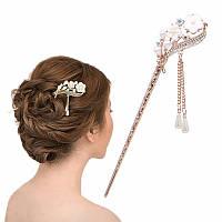 Палочка  для волос, цветок белого цвета