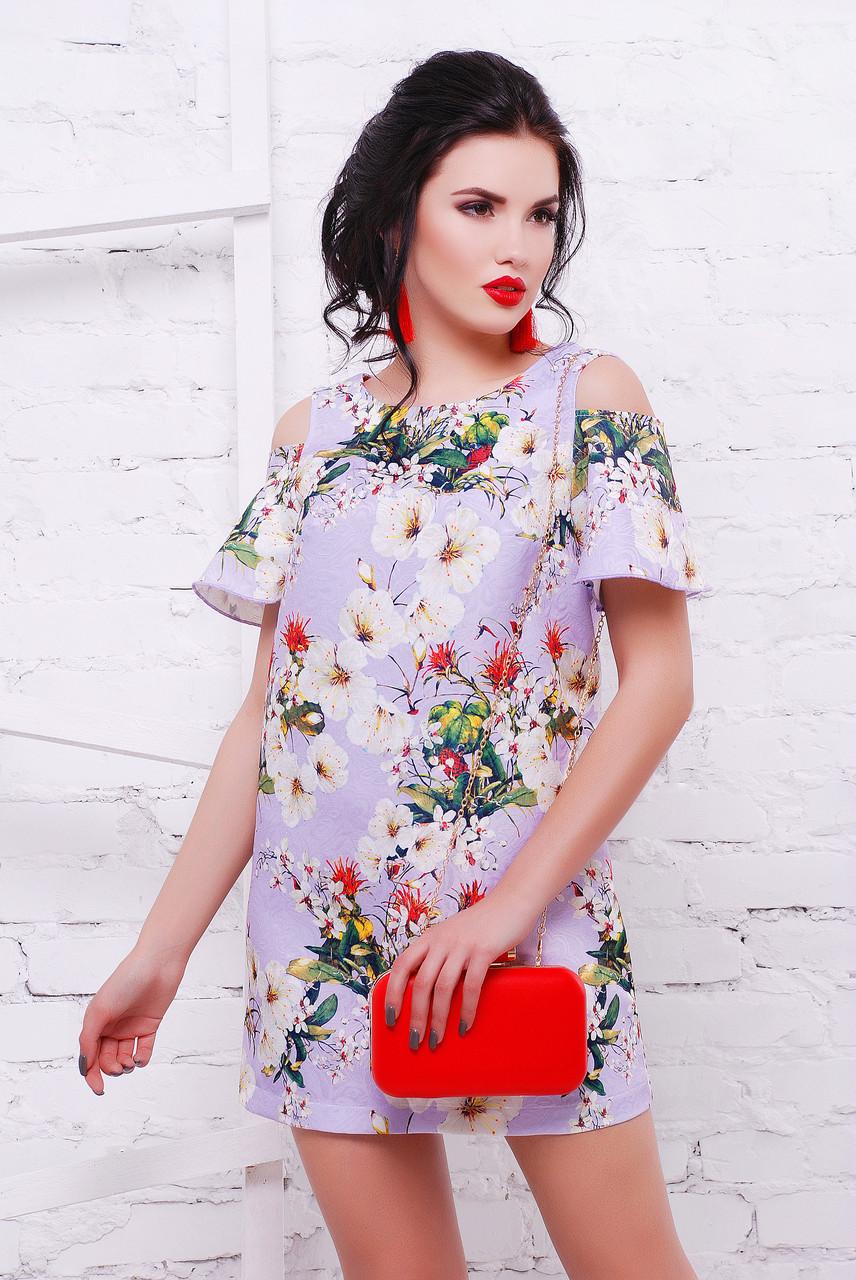 Жаккардовое платье с воланами на рукавах «Sugar-2»