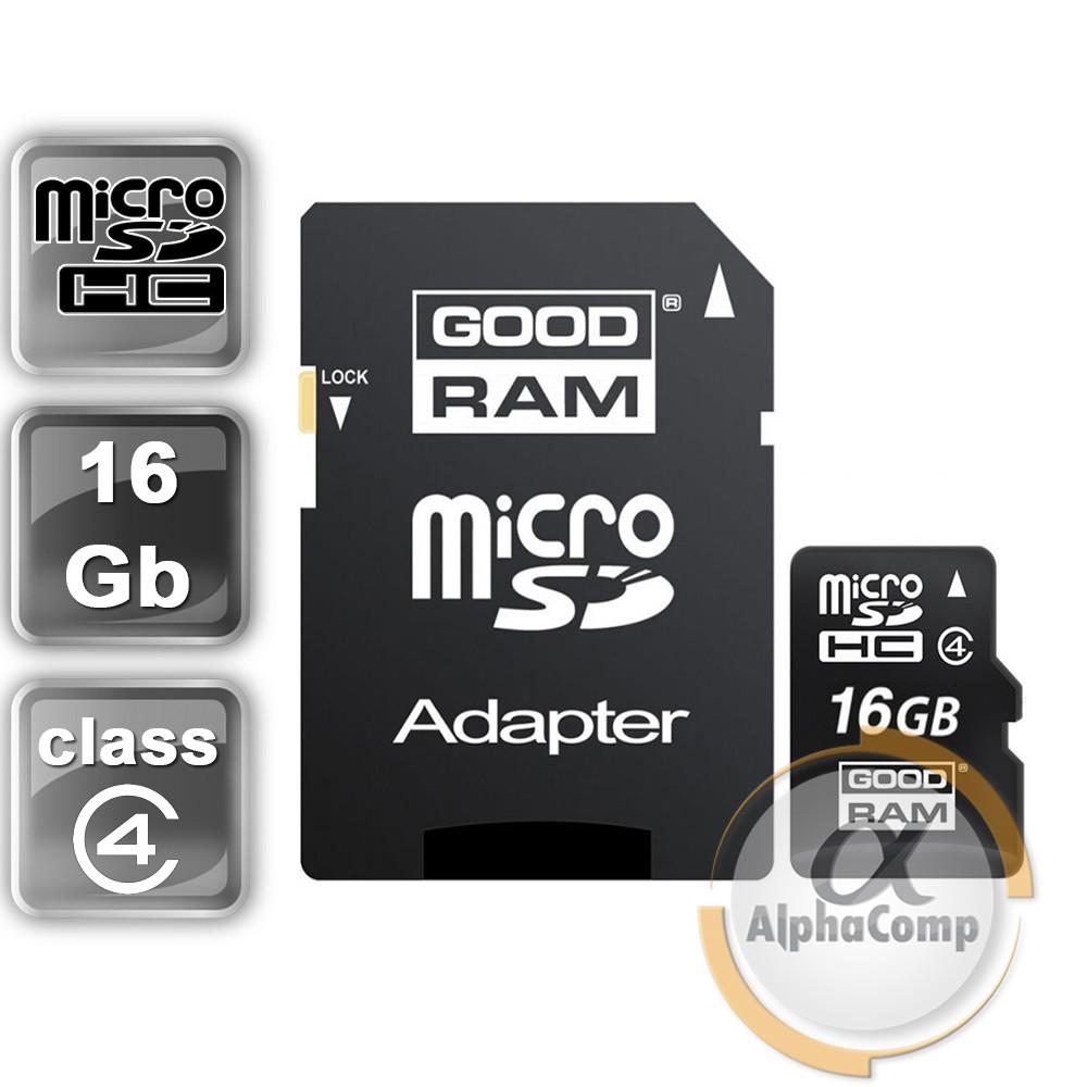 Карта памяти microSD 16GB GOODRAM  Class 4 + adapter SD