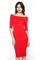 "Сукня лодочка жакард ""Tiffany"" червоний платье лодочка жаккард"