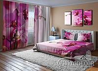 """Фото Комплект """"Пурпурные орхидеи"""" Шторы (2,50*2,60), Покрывало (2,10*1,70)"""
