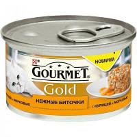 Консервы Gourmet Gold для кошек, нежные биточки с курицей и морковью, 85 г