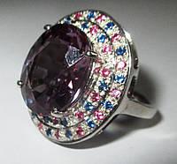 """Элегантный перстень с александритами и цветными сапфирами """"Разноцвет"""", размер 17.6 от студии LadyStyle.Biz"""