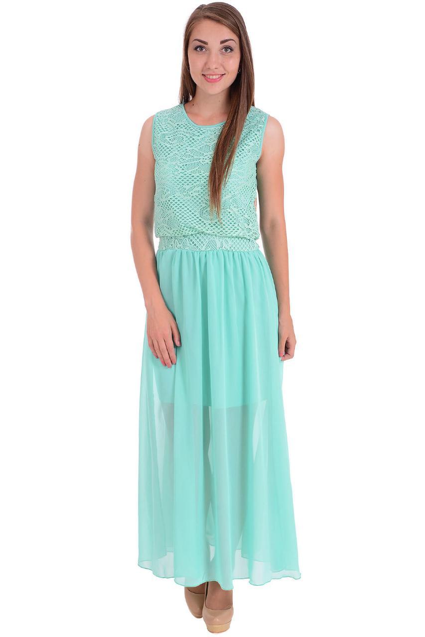 Модное красивое летнее длинное платье шифоновое с гипюром, р. 42-50