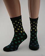 Носки женские разноцветные хлопок черные в разноцветный горошек  Ж-900012