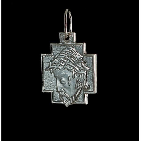 Крест серебряный нательный с ликом Христа
