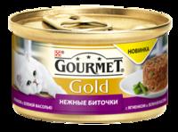 Консервы Gourmet Gold для кошек, нежные биточки с ягненком и зелеными бобами, 85 г, фото 1