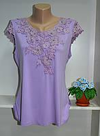 Летняя сиреневая футболка женская хорошее качество, фото 1