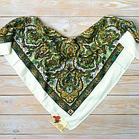 Красивый платок с орнаментом (80х80см, шампань, 80%-шерсть), фото 1