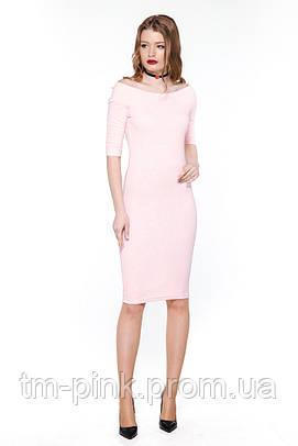 "Сукня лодочка жакард ""Tiffany"" рожева платье лодочка жаккард"