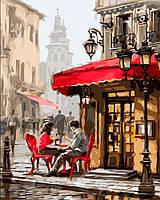 "KHO 2144 ""Лондонское кафе"" Роспись по номерам на холсте (без коробки) 40х50см"