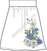 Заготовка женской юбки бисером на габардине СПЖ-8